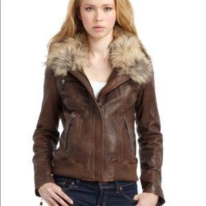 Andrew Marc Lamb Skin Leather Bomber Brown Jacket